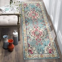 Safavieh Monaco Bohemian Medallion Light Blue/ Fuchsia Distressed Runner (2' 2 x 6')