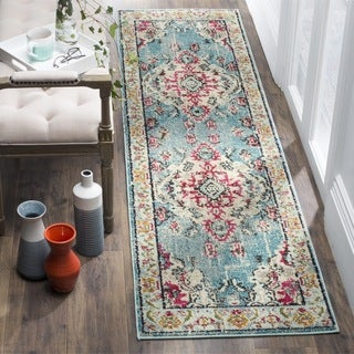 Safavieh Monaco Bohemian Medallion Light Blue/ Fuchsia Distressed Runner (2' 2 x 8')