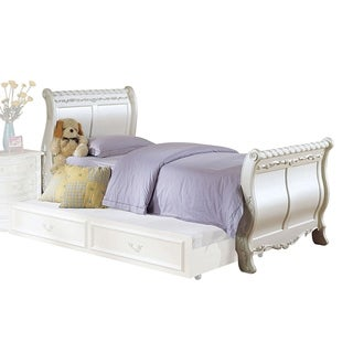 Acme Furniture Pearl Sleigh Bed, Pearl White and Gold Brush Accent