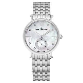 Alexander Women's Swiss Made Diamond 'Roxana' Stainless Steel Link Bracelet Watch