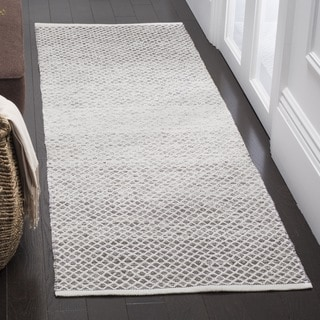 Safavieh Montauk Handmade Flatweave Light Grey/ Ivory Cotton Runner (2' 3 x 7')