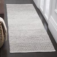Safavieh Montauk Handmade Flatweave Light Grey/ Ivory Cotton Runner (2' 3 x 7')