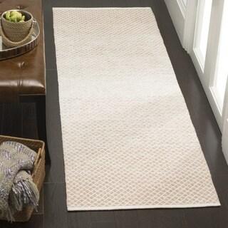 Safavieh Montauk Handmade Flatweave Beige/ Ivory Cotton Runner (2' 3 x 7')