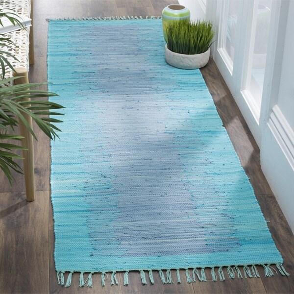 Safavieh Hand-Woven Montauk Flatweave Turquoise Cotton Runner (2' 3 x 7')
