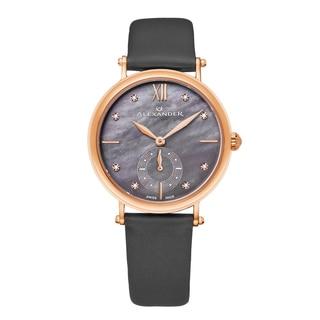 Alexander Women's Swiss Made Diamond 'Roxana' Grey Satin Leather Strap Watch