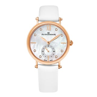 Alexander Women's Swiss Made Diamond 'Roxana' White Stain Leather Strap Watch