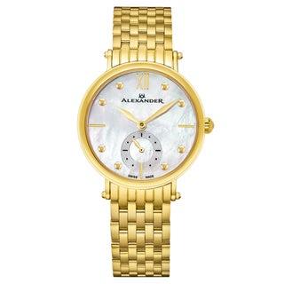 Alexander Women's Swiss Made Diamond 'Roxana' Gold Tone Satinless Steel Link Bracelet Watch