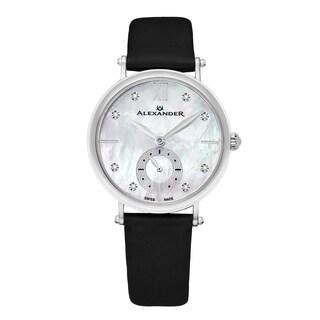 Alexander Women's Swiss Made Diamond 'Rixana' Black Satin Leather Strap Watch