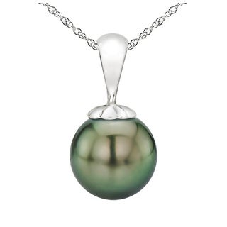 """DaVonna 14k White Gold 8-9mm Round Black Tahitian High Luster Pearl Pendant Necklace, 18"""""""