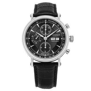 Alexander Men's Swiss Made Automatic Chronograph 'Creon' Black Leather Strap Watch