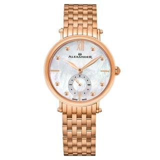 Alexander Women's Swiss Made Diamond 'Roxana' Rose Tone Stainless Steel Link Bracelet Watch