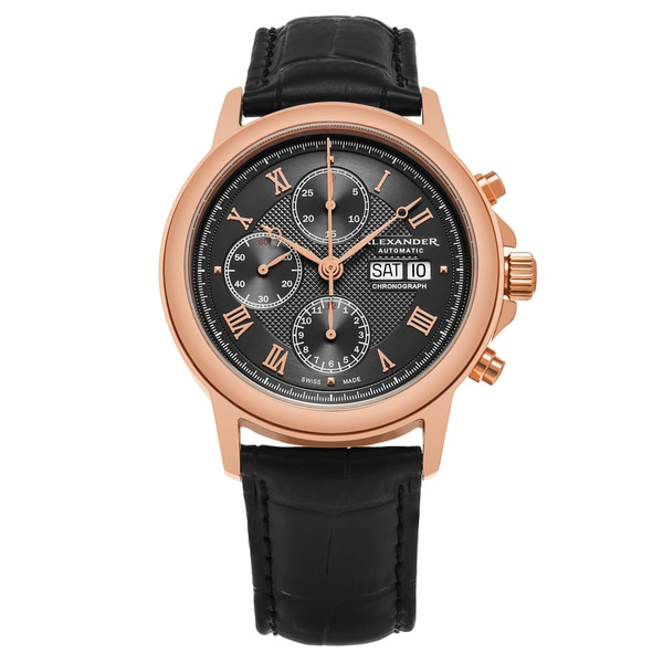 Alexander Men's Swiss Made Automatic Chronomarket 'Aigai' Black Leather Strap Watch