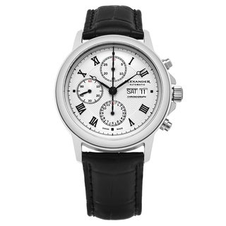 Alexander Men's Swiss Made Automatic Chronograph 'Aigai' Black Leather Strap Watch