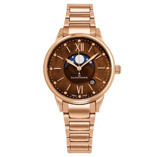 Alexander Women's Swiss Made Moonphase 'Vassilis' Rose Gold Stainless Steel Link Bracelet Watch