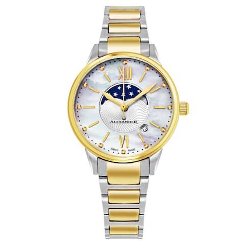 Alexander Women's Swiss Made Moonphase 'Vassilis' Two Tone Satinless Steel Link Bracelet Watch