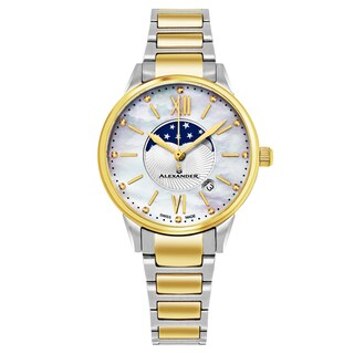 Alexander Women's Swiss Made Moonphase 'Vassilis' Two Tone Satinless Steel Link Bracelet Watch