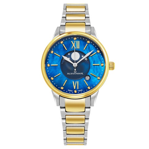 Alexander Women's Swiss Made Moonphase 'vassilis' Two Tone Stainless Steel Link Bracelet Watch