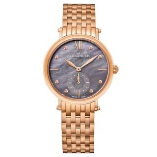 Alexander Women's Swiss Made 'Roxana' Rose Gold Tone Stainless Steel Link Bracelet Watch