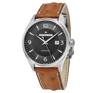 Hamilton Men's H32755851 'Jazzmaster' Grey Dial Brown Leather Strap Swiss Automatic Watch