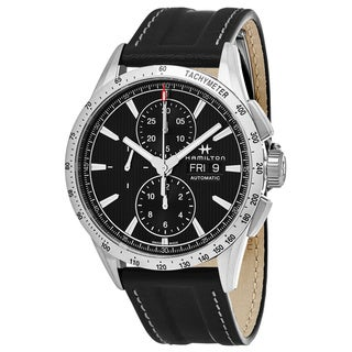 Hamilton Men's H43516731 'Broadway' Black Dial Black Leather Strap Chronograph Swiss Automatic Watch