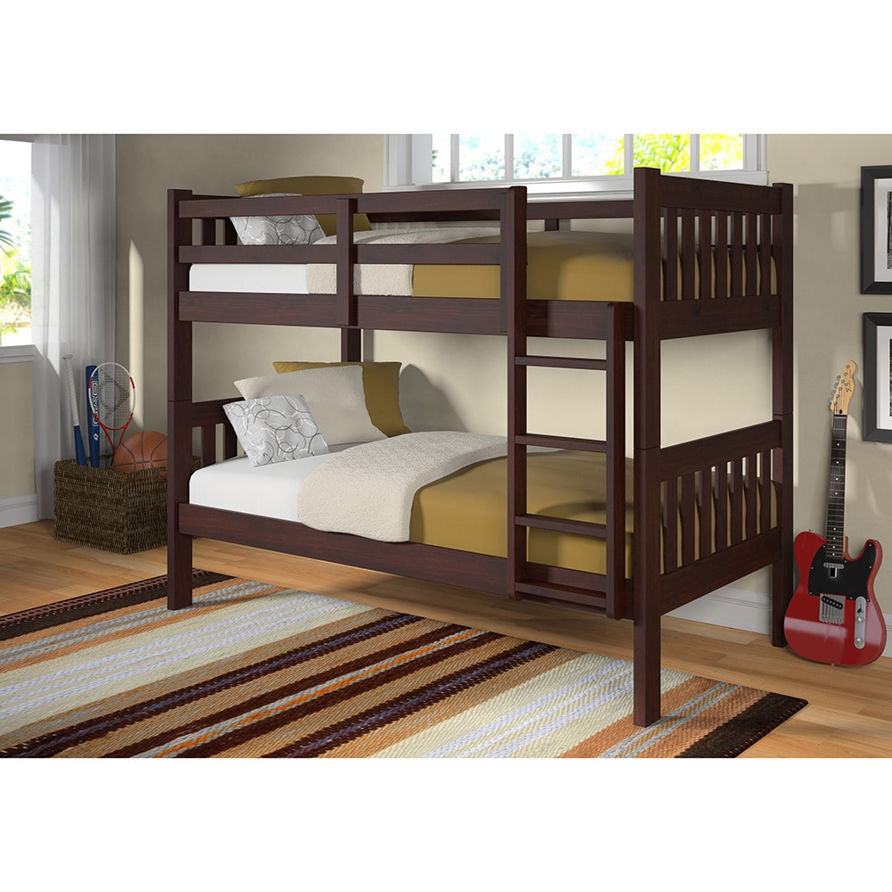 Donco Kids Twin over Twin Mission Bunk Bed in Dark Cappuc...