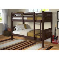 Donco Kids Twin over Twin Mission Bunk Bed in Dark Cappuccino with Optional Twin Trundle or Storage Drawers