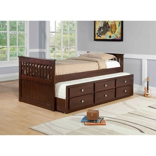 Donco Kids Twin Mission Captains Trundle Bed with Storage in Dark Cappuccino (Assembly Required - Includes Hardware - Brown - Unisex - Storage