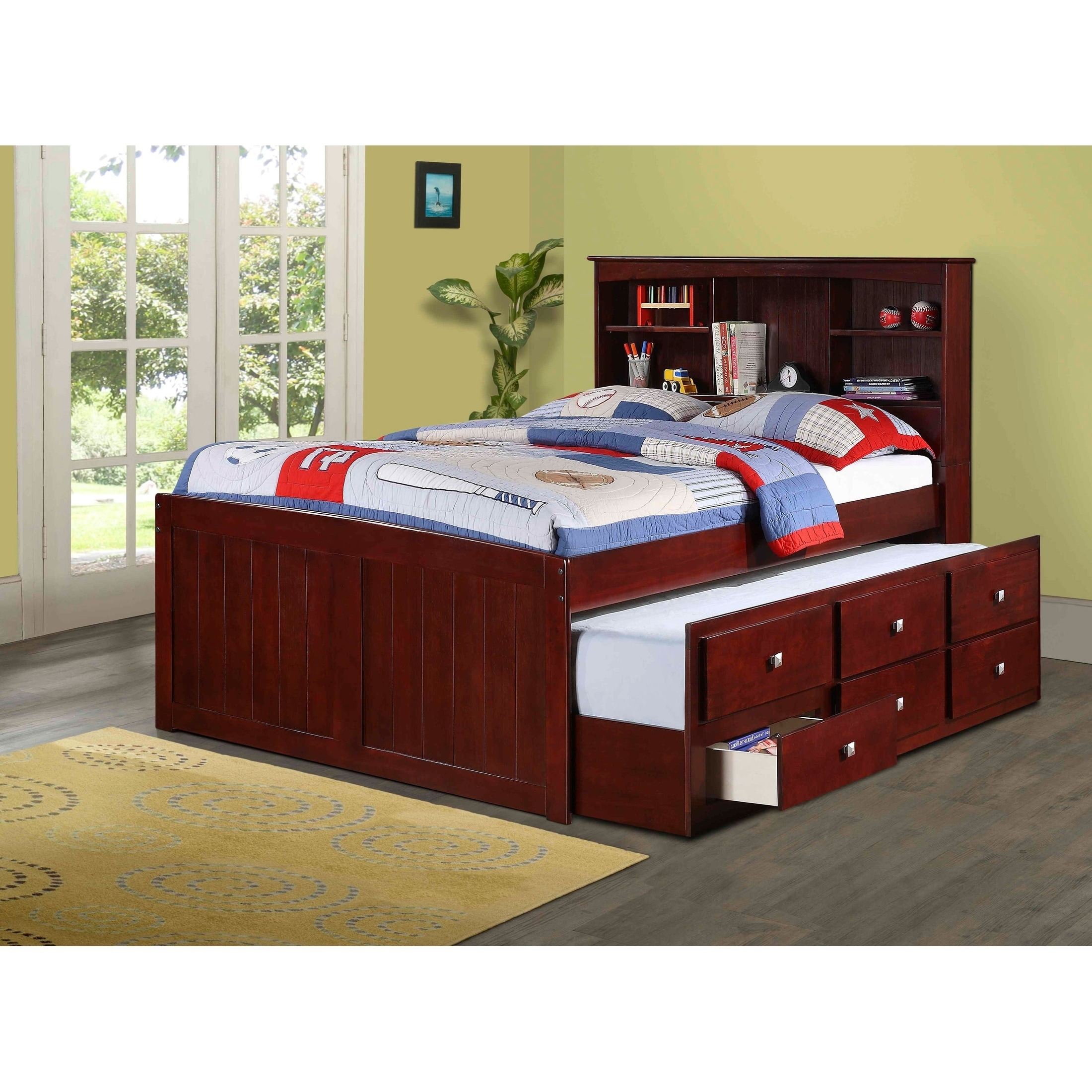 Shop Black Friday Deals On Donco Kids Bookcase Captains Dark Cappuccino Trundle Bed On Sale Overstock 13863817 Cappuccino Twin With Twin Trundle