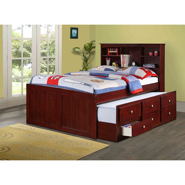 Shop Donco Kids Bookcase Captains Trundle Bed With Storage In Dark