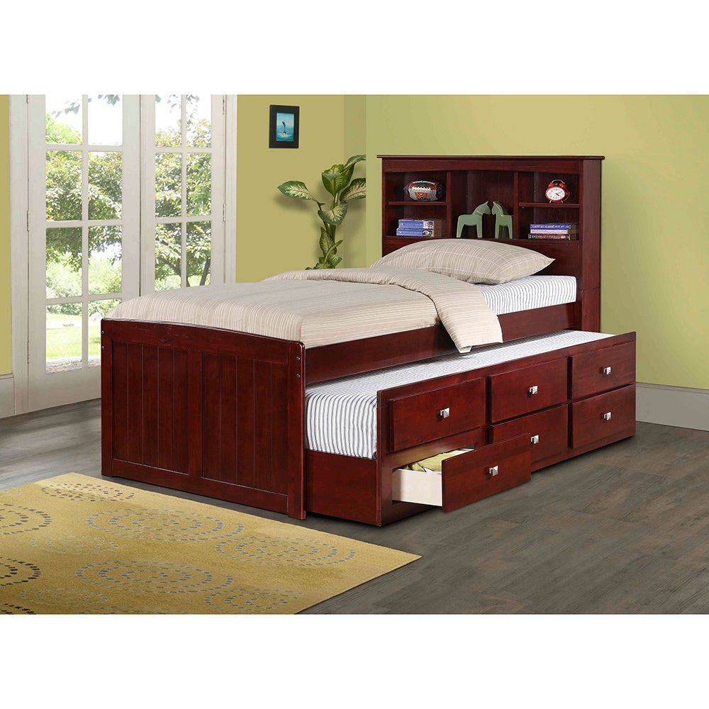 Donco Kids Bookcase Captains Trundle Bed with Storage in ...
