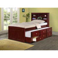 Donco Kids Bookcase Captains Trundle Bed with Storage in Dark Cappuccino