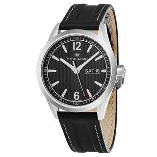 Hamilton Men's H43311735 'Broadway' Black Dial Black Leather Strap Day Date Swiss Quartz Watch