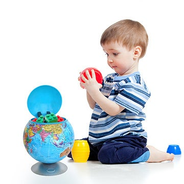 100% Touchless Round Motion Sensor Toy Box Globe (Sensor Cookie Jar Global Map)