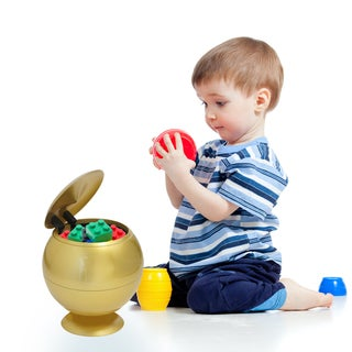 100% Touchless Round Motion Sensor Toy Box in Gold