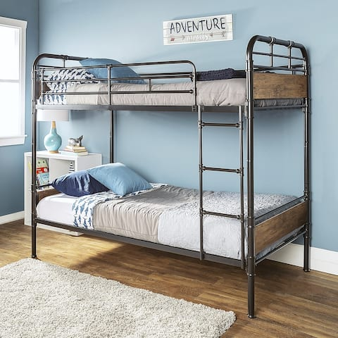 Taylor & Olive Baikal Twin over Twin Metal Pipe Bunk Bed
