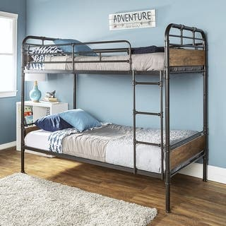 Twin over Twin Wood and Black Metal Pipe Bunk Bed|https://ak1.ostkcdn.com/images/products/13863830/P20504435.jpg?impolicy=medium