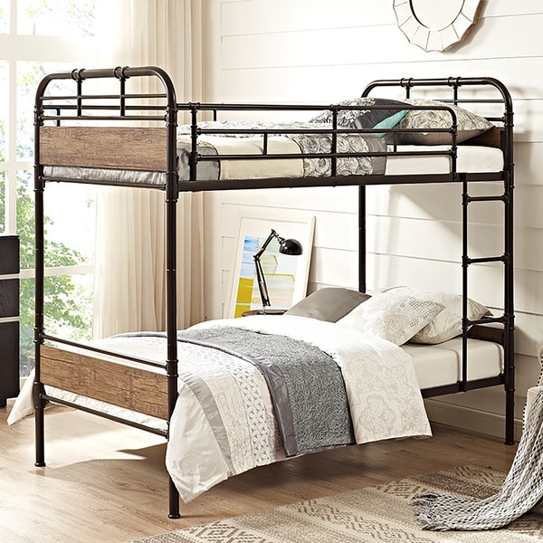 twin over twin wood and black metal pipe bunk bed free shipping today overstock 20504435. Black Bedroom Furniture Sets. Home Design Ideas