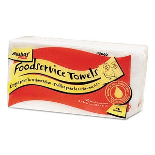 Cascades Busboy Guard Antimicrobial Towels White/Red 12 x 24 20/Pack 12 Packs/Carton