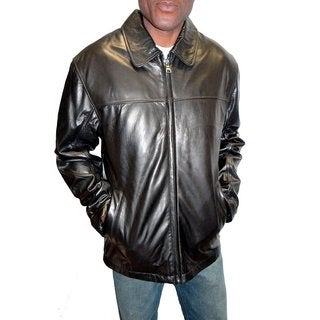 Knoles & Carter Men's Zip-front Open-bottom Black Leather Jacket