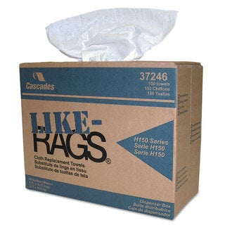 Cascades Like-Rags Spunlace Towels White 9 3/4 x 16 3/4 150/Box 6 Box/Carton