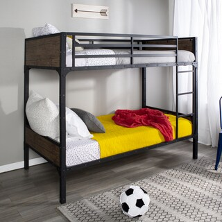 Rustic Wood Twin over Twin Bunk Bed