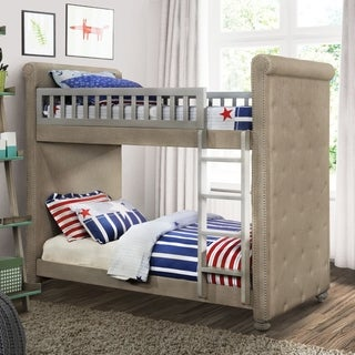 Furniture of America Daylene Contemporary Twin/Twin Grey Linen Fabric Bunk Bed