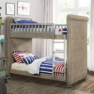 Furniture of America Daylene Twin Grey Faux Linen Bunk Bed