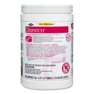 Clorox Healthcare Dispatch Cleaner Disinfectant Towels 6 3/4 x 8 150/Can 8 Canisters/Carton