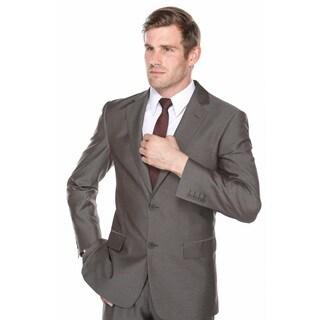 Verno Men's Silver and Black Viscose Sharkskin Slim-fit 2-piece Suit