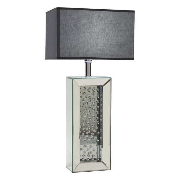 Carroll Mirrored Silver Glass and Wood Table Lamp