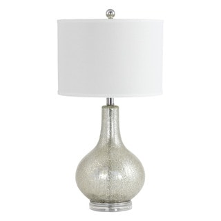 Caressa Antique Mercury Glass, Silver, and White Linen Table Lamp