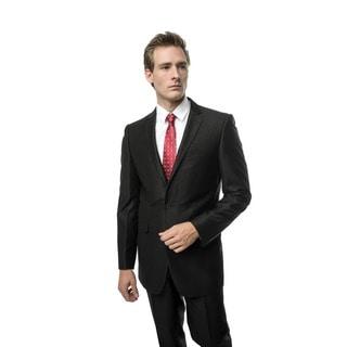 Verno Men's Black Slim Fit Two-piece Suit