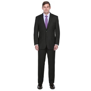 Verno Men's Black Textured Notch Lapel Classic Fit Two-Piece Suit