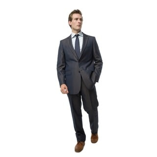 Verno Giganti Men's Navy Iridescent Slim Fit Two-Piece Suit